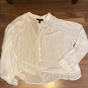 Forever 21 striped tie up top